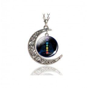 Colgante media luna con simbolos Reiki