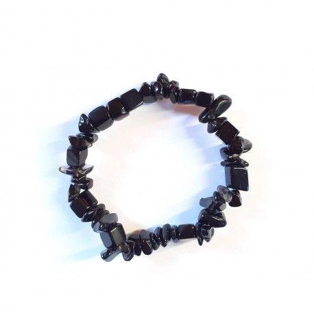 Pulsera obsidiana negra chip elástica