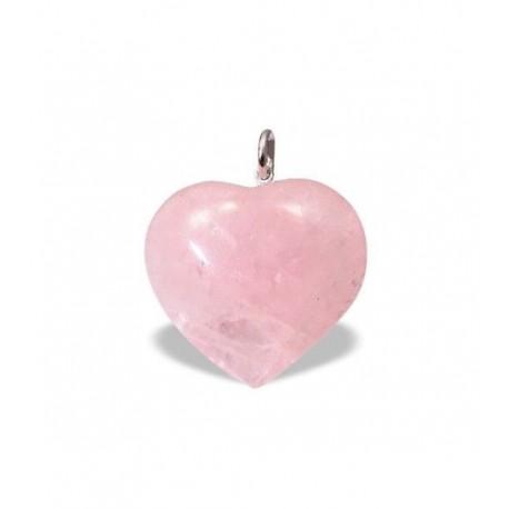 Colgante Corazón de Cuarzo Rosa 2,5 cm