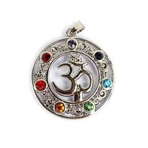 Colgante OM Y 7 chakras en plata 2,8 cm