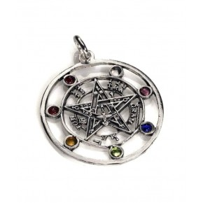 Colgante tetragramatón 7 chakras en plata 4 cm
