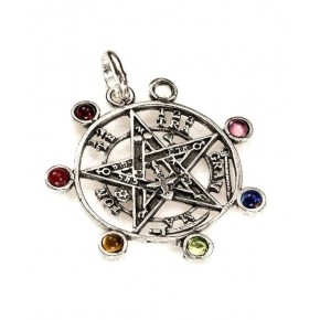 Colgante tetragramaton/7 chakras en plata 3 cm