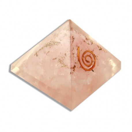 Pirámide Orgonita de Cuarzo Rosa 4 cm